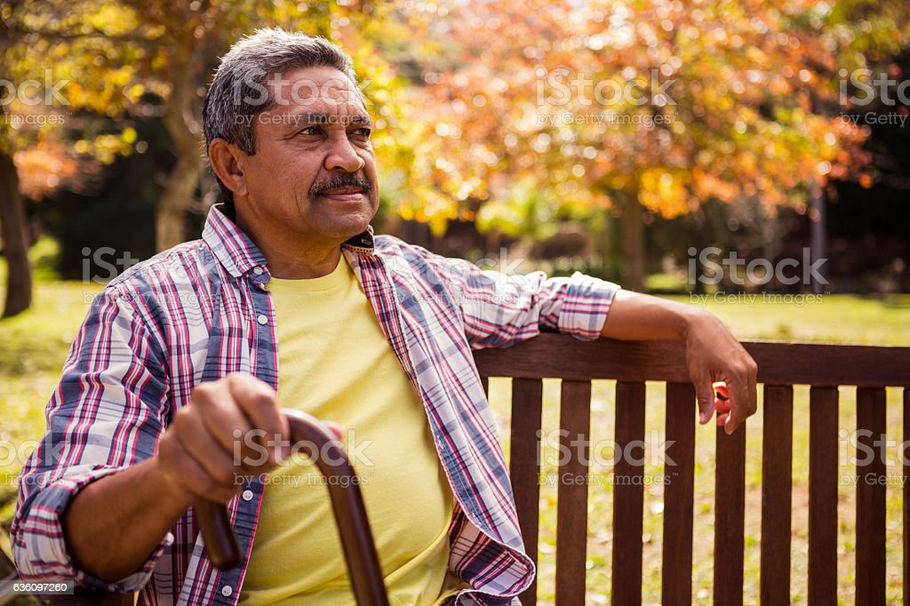 Elderly man sitting on the bench with his cane stock photo