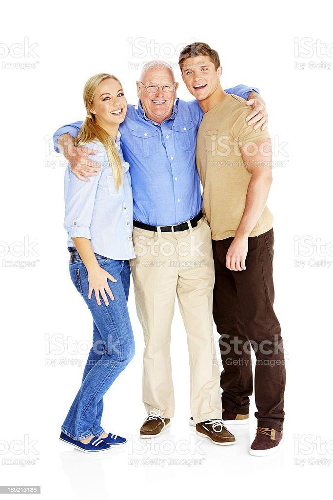 Anciano con su joven niños de pie - foto de stock