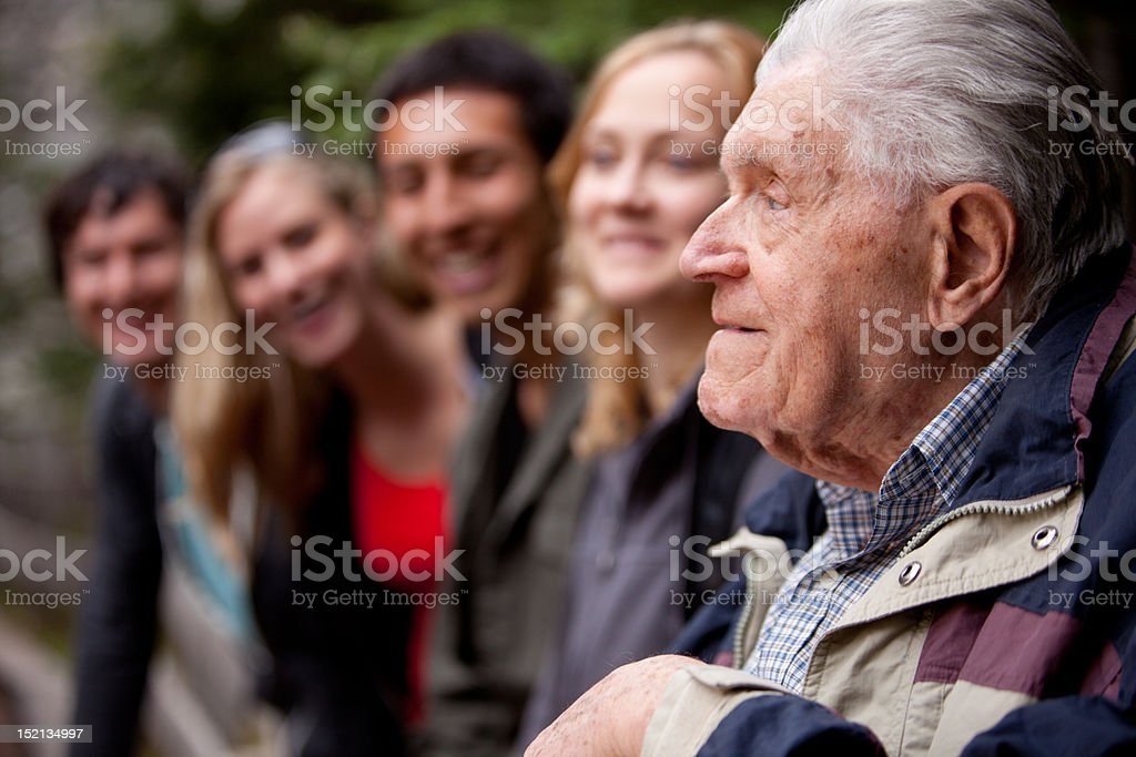 Elderly Man Telling Stories stock photo