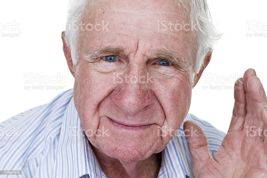 Elderly man waving to viewer royalty-free stock photo