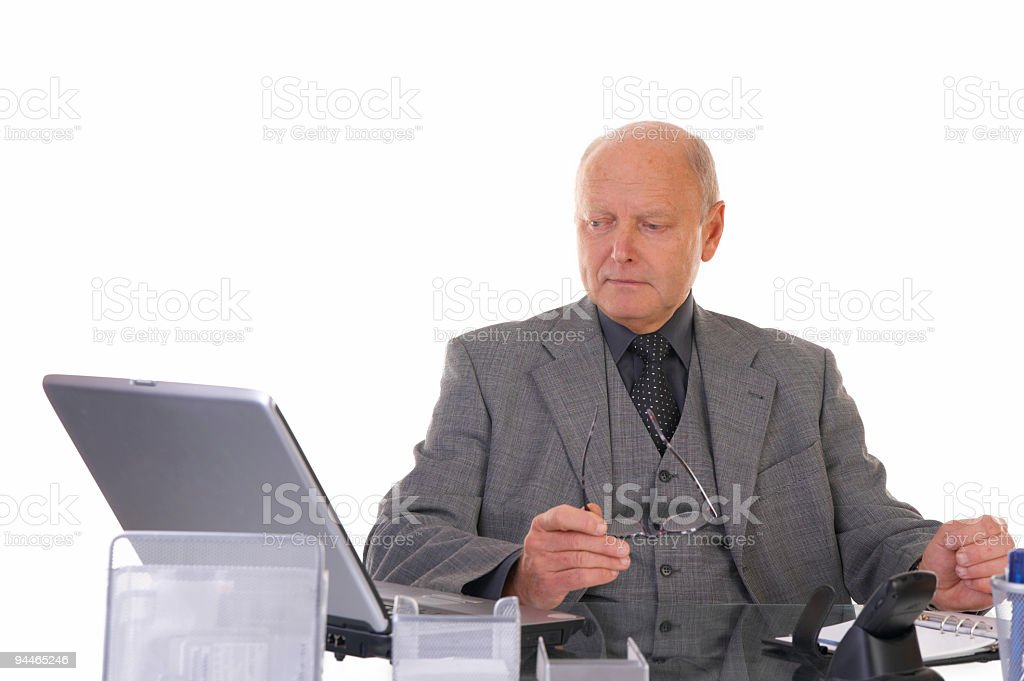 elderly manager on workplace royalty-free stock photo