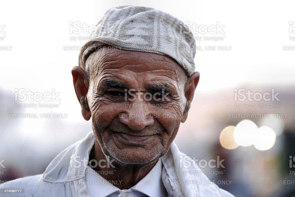 Elderly Moroccan Man in a Djellaba stock photo
