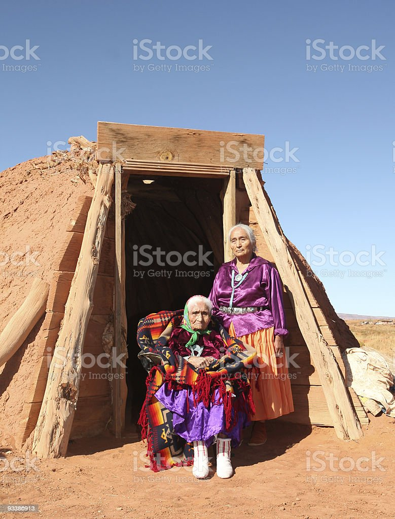 Elderly Mother and Daughter Traditional Navajo Women  stock photo