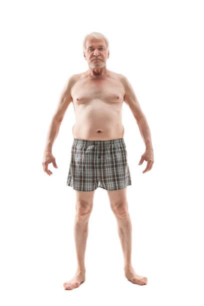 elderly naked man - a petto nudo foto e immagini stock