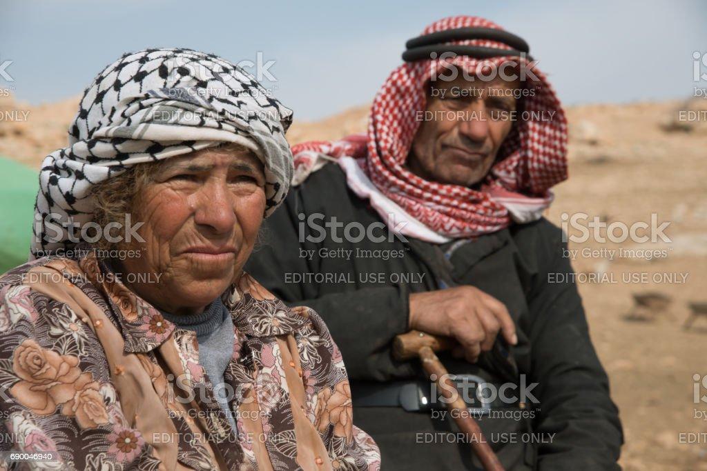 Elderly Palestinians in Jordan Valley village stock photo