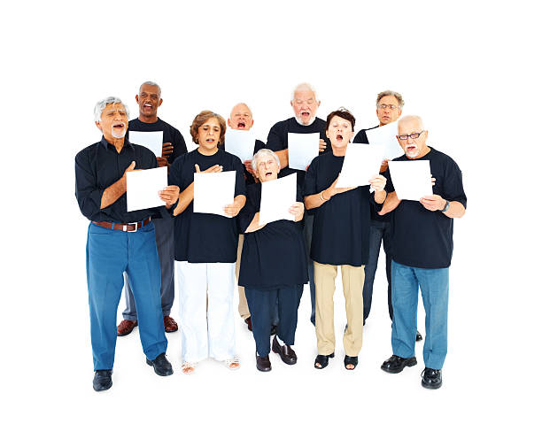 elderly people chanting hymns over white - full length of senior people singing together against white stock photos and pictures