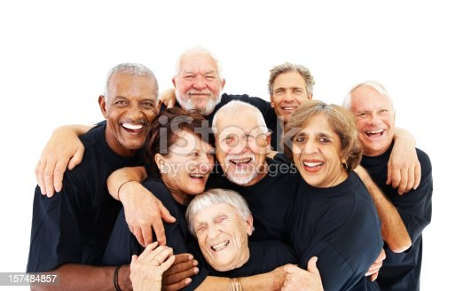 istock Elderly people standing together on white background 157484857