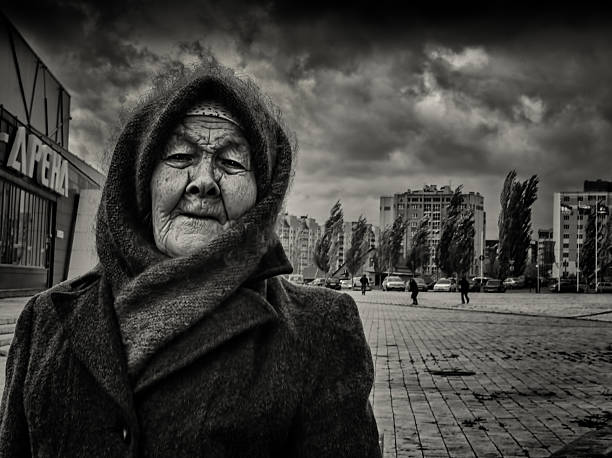 Elderly Russian Woman and the Windy Storm stock photo