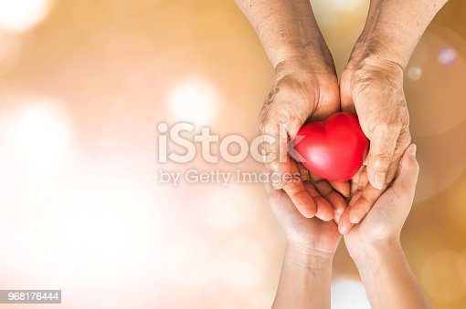 istock Elderly senior person or grandparent's hands with red heart  in support of nursing family caregiver for national hospice palliative care and family caregivers month concept 968176444