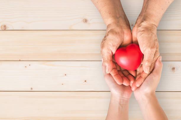 mayores seniors manos de persona o de los abuelos con corazón rojo en apoyo a cuidador familiar enfermería de cuidados paliativos hospice nacional y concepto de mes de los cuidadores familiares - memorial day fotografías e imágenes de stock