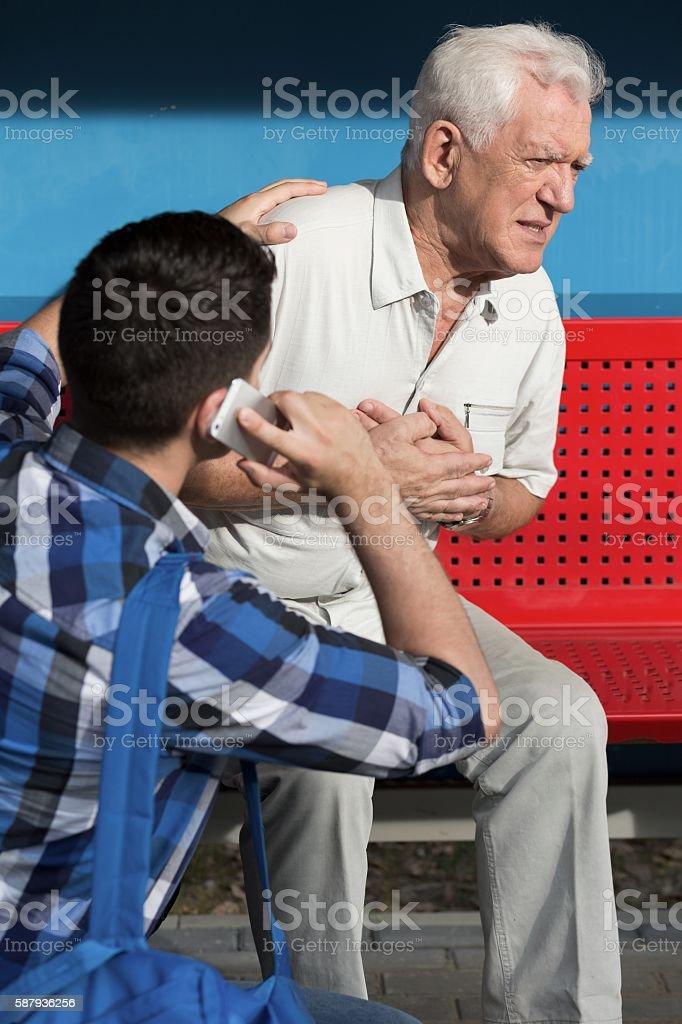 Elderly sick man stock photo