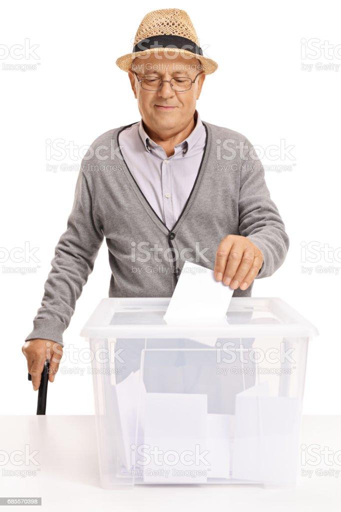 노인 유권자 투표 상자에 투표를 퍼 팅 royalty-free 스톡 사진