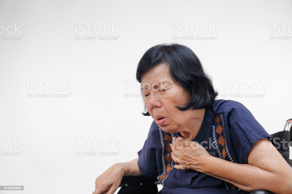 elderly woman cough ,choke stock photo