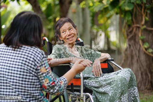 istock Elderly woman on wheelchair at home with daughter take care 1164130749
