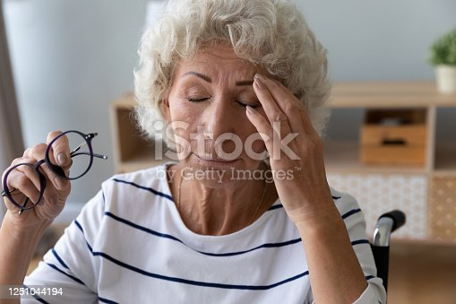 1049512672 istock photo Elderly woman sitting in wheelchair taking off glasses reduces eyestrain 1251044194