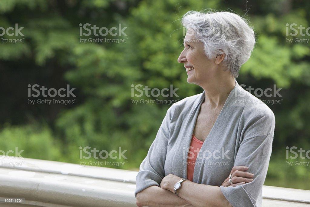 Elderly woman smiling stock photo