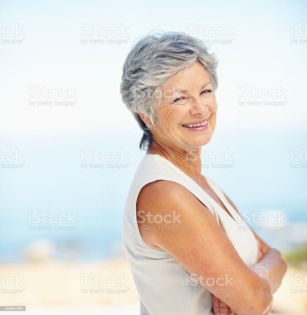 Elderly woman smiling royalty-free stock photo