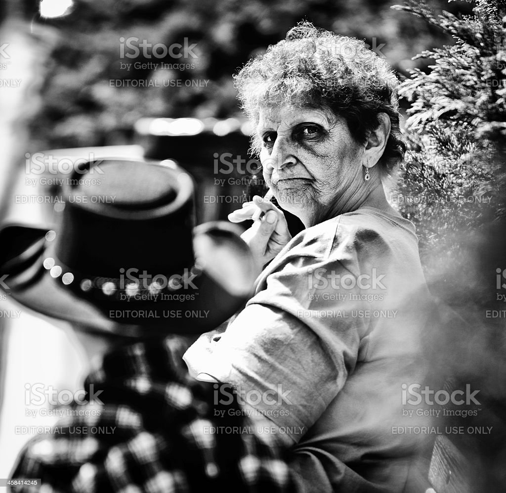 Elderly Woman Smoking stock photo