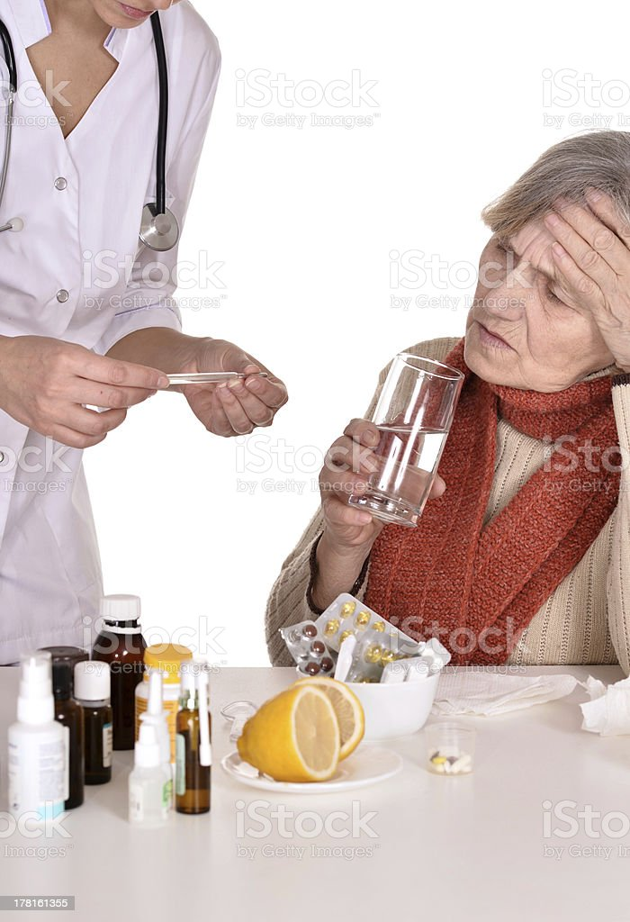 elderly woman with a doctor royalty-free stock photo