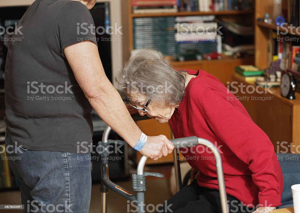 Elderly Woman With Walker Standing Up royalty-free stock photo