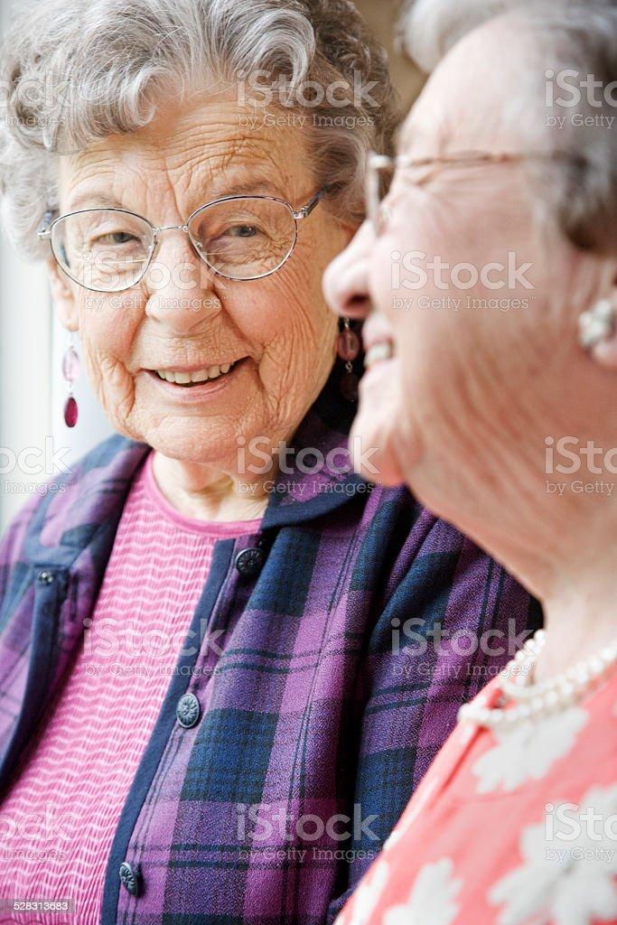 Elderly Women Talking in Nursing Home stock photo