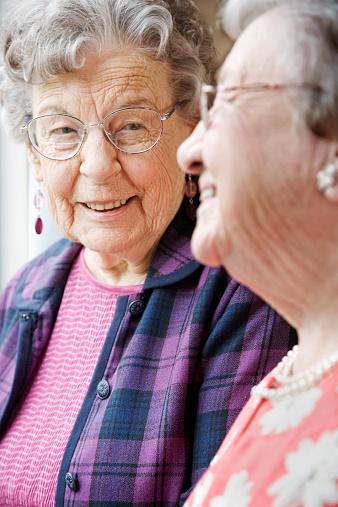 Elderly Women Talking In Nursing Home Stock Photo - Download Image Now