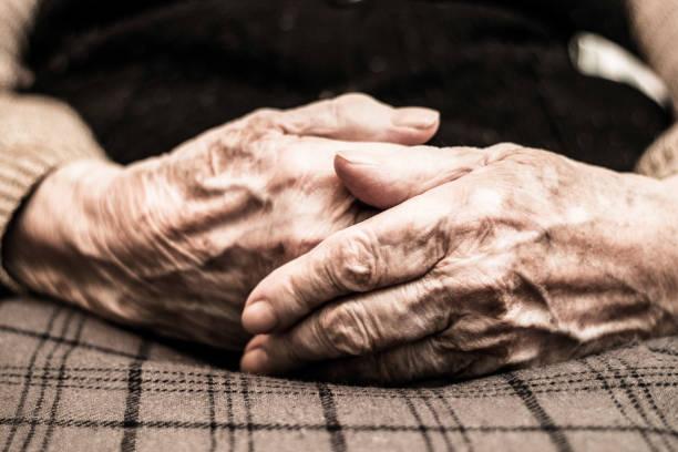 Eldery woman hands stock photo