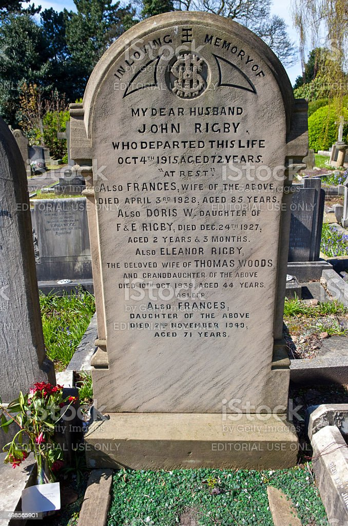 Eleanor Rigby Grave in Liverpool stock photo