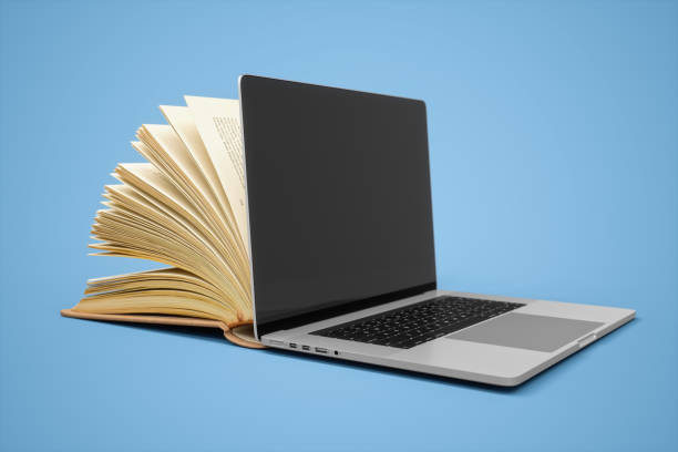 E-Learning, Book And Laptop stock photo