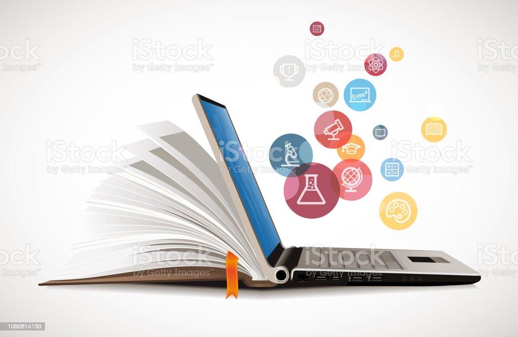 Elearning - book as laptop electronic book concept Elearning - book as laptop electronic book concept E-Reader Stock Photo
