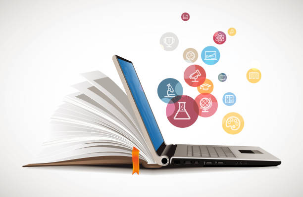 Elearning - book as laptop  electronic book concept Elearning - book as laptop  electronic book concept online education stock pictures, royalty-free photos & images