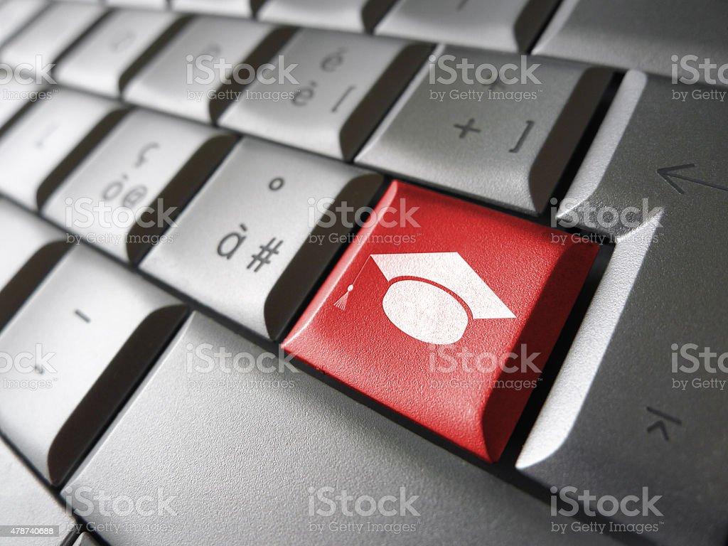 E-learning Computer Key stock photo