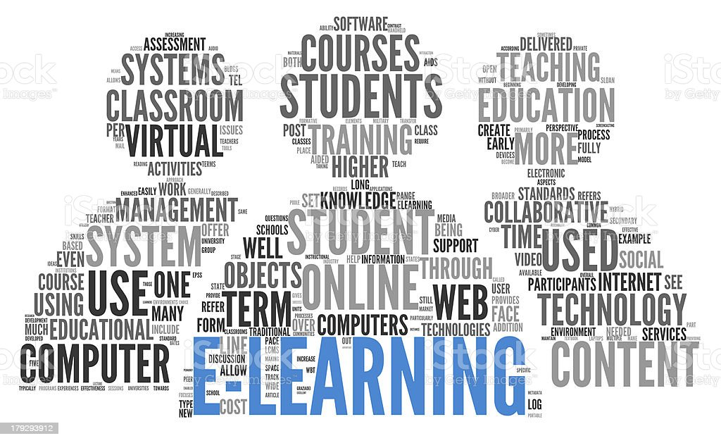 E-learning concept in word tag cloud royalty-free stock photo