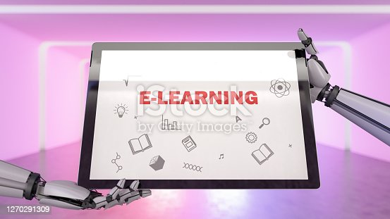 E-Learning Concept with Tablet and Robot Hand. 3d Render