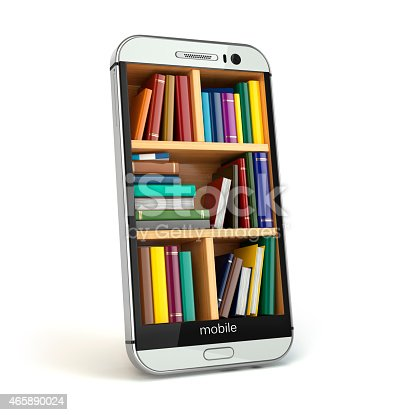 istock E-learning education or internet library concept. Smartphone and 465890024