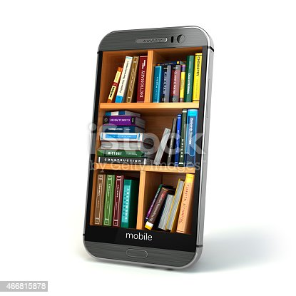 istock E-learning education or internet library concept. Smartphone and 466815878
