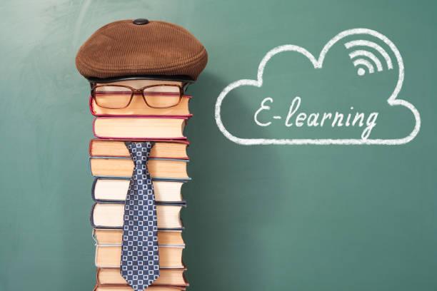 E-Learning lustige Bildungskonzept mit ungewöhnlichen Mannes Lehrer – Foto