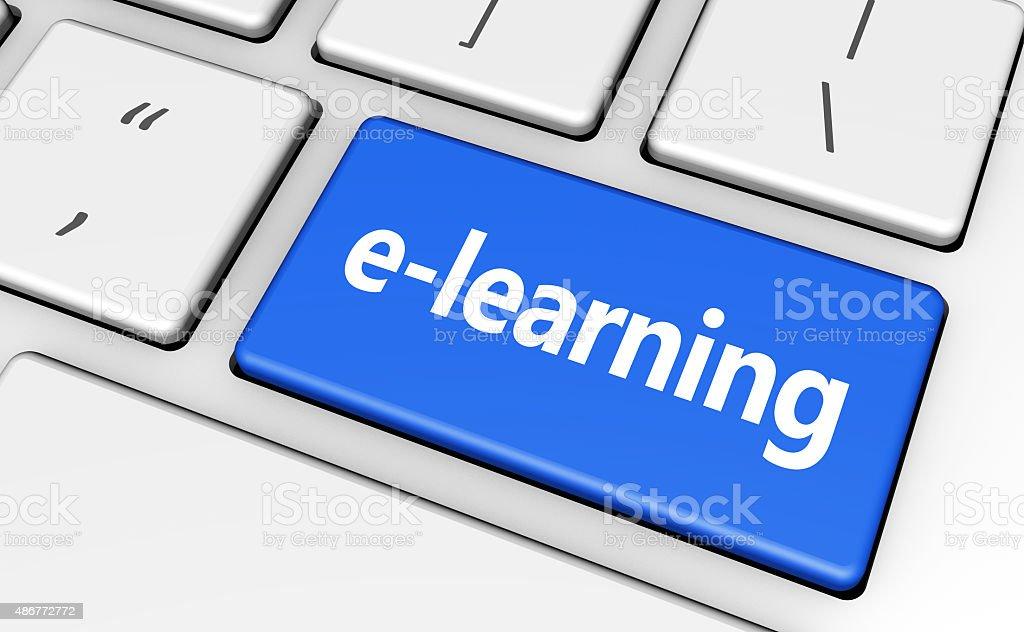 Elearning Key Education Concept stock photo