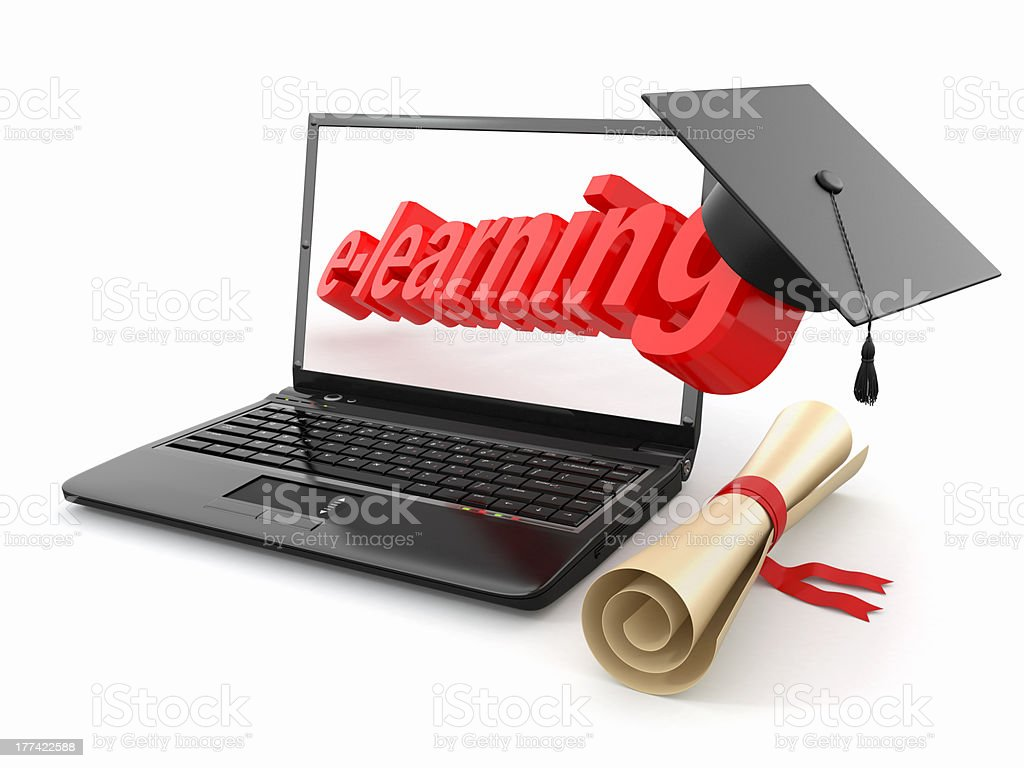 E-learning. Laptop, diploma and mortar board. royalty-free stock photo