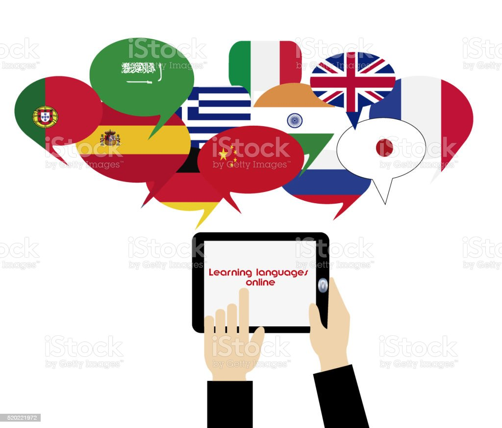 E-learning. Mobile dictionary. Learning languages online stock photo