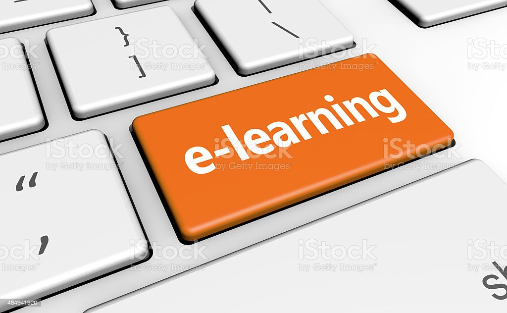 Elearning Online Education Button stock photo