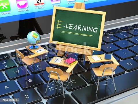 istock E-learning, online education concept. Blackboard and school desk 504043696