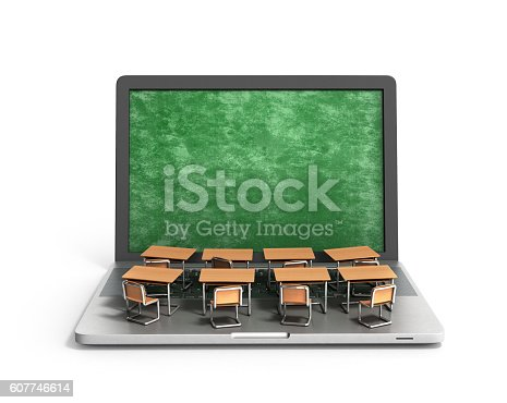 istock E-learning online education concept school desks 607746614
