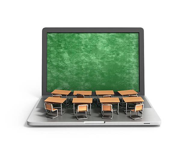 E-learning online education concept school desks - foto stock