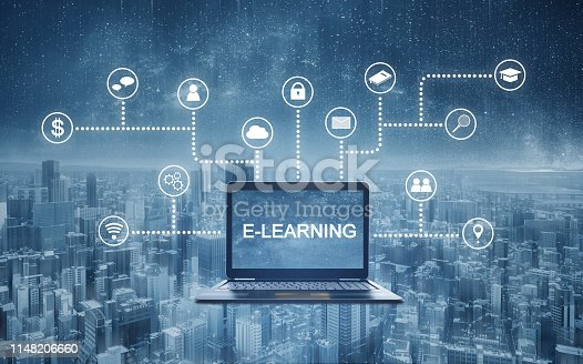 istock E-learning, online education technology. E-learning on computer laptop with application programming interface icons technology 1148206660