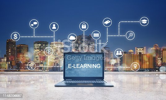 istock E-learning, online education technology. E-learning on computer laptop with application programming interface icons technology 1148206687