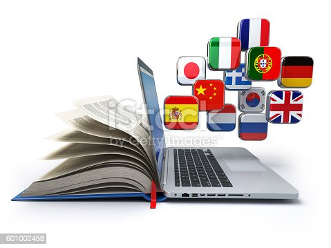 istock E-learning or online translator concept. Learning languages onli 601002458