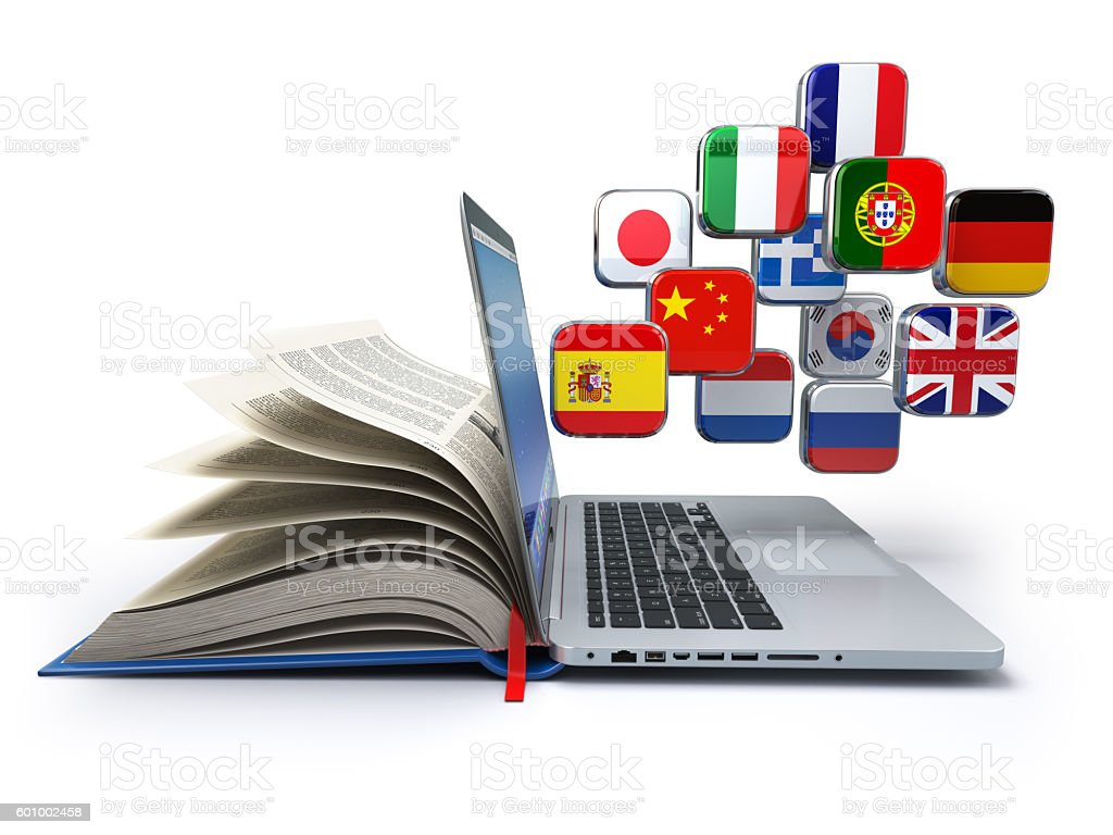 E-learning or online translator concept. Learning languages onli – Foto