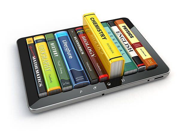 E-learning.  Tablet pc and textbooks. Education online. stock photo