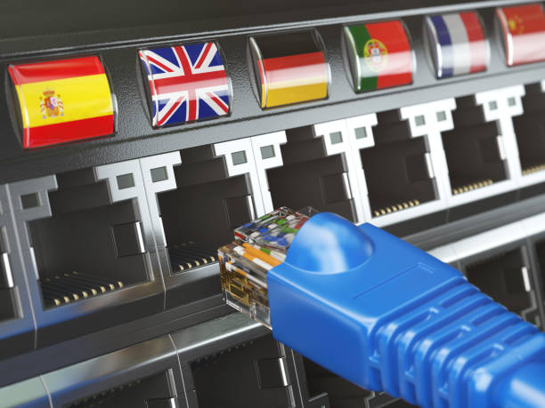 E-learning, translate foreign languages, online vocabilary, multilingual support or change of ip location concept. Flags of countries and ethernet plug and sockets. stock photo